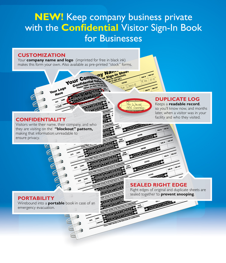 Keep company business private with the Confidential Visitor Sign_in Book for Businesses