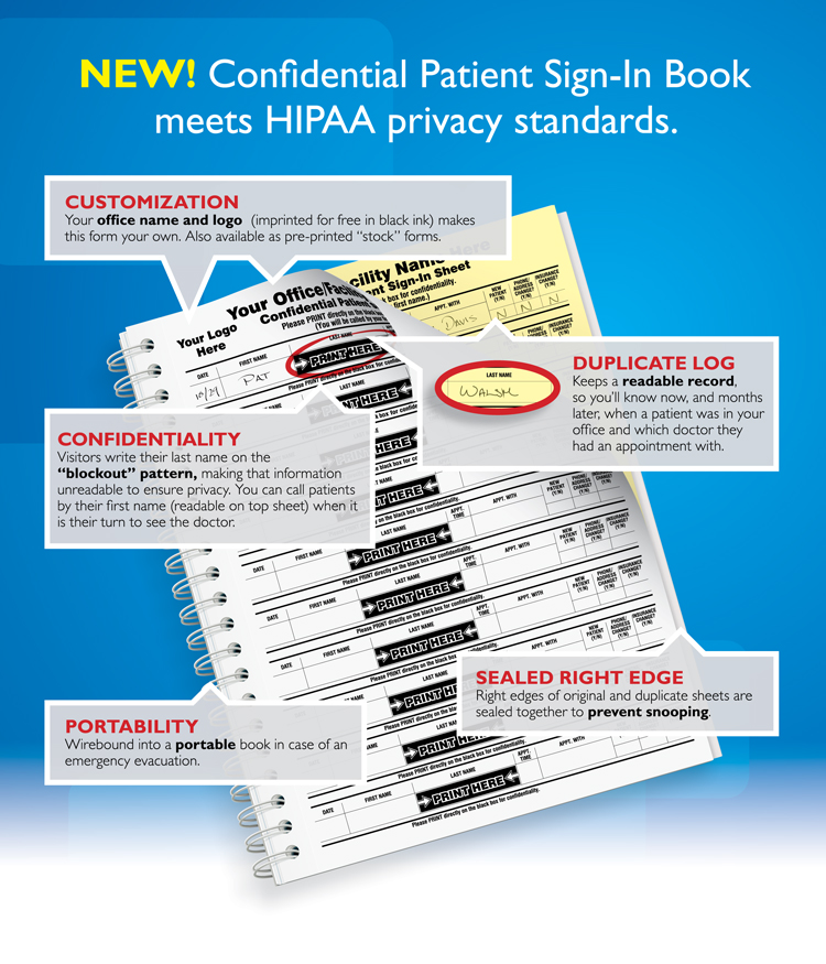 Confidential Patient Sign-In Book meets HIPAA privacy requirements