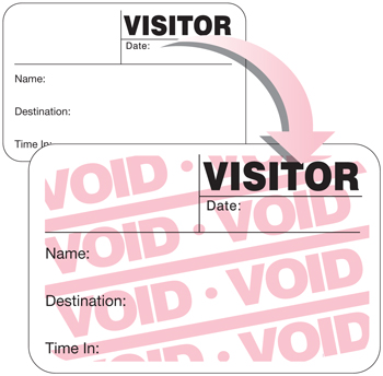 FULL-Expiring Visitor Badge with full void color change; One Day Time-Expiring Visitor Badges