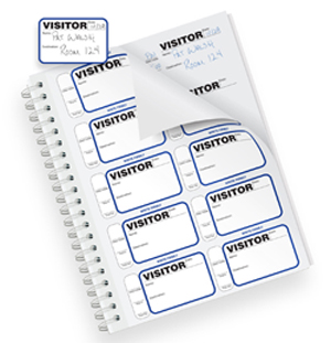 sign-in book with visitor badges