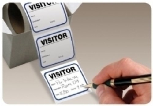 Rolled badges for manual sign in - economical visitor passes