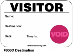 One Day Time-Expiring Visitor Badge, DOT-Expiring Visitor Pass #806D