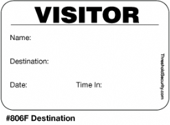 One Day Time-Expiring Visitor Badge, FULL-Expiring Visitor Pass #806F