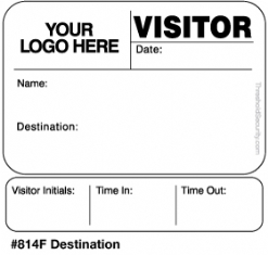 One Day Time-Expiring Visitor Badge, FULL-Expiring Visitor Pass #814F