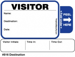One Day Time-Expiring Visitor Badge, TAB-Expiring Visitor Pass #816