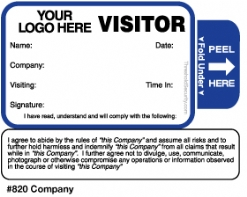 One Day Time-Expiring Visitor Badge, TAB-Expiring Visitor Pass #820